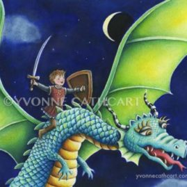 Boy riding dragon - night - sp wmk