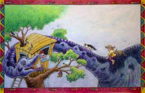 tree suitcase dino