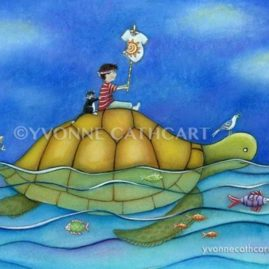 Boy Riding Turtle