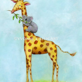 Giraffe and Koala Friends