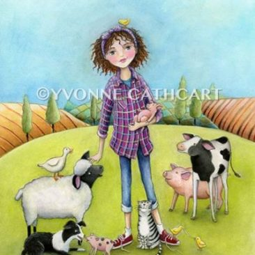 Farm Girl with Animals