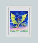 Boy riding dragon - framed