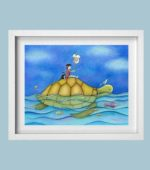 Boy riding turtle - framed
