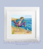 Boy at Beach with Note - framed
