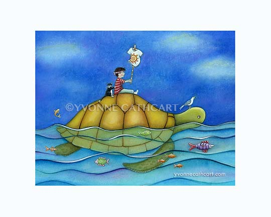 Boy Riding Turtle - l-w-mk -sp