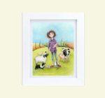Farm girl with animals - framed