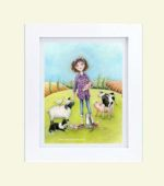 Farm girl with animals - framed