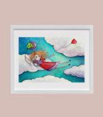 Girl Flying - framed