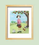 Girl picking apples - framed