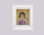 Girl with bird - framed