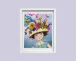 Girl with Fancy Hat - framed