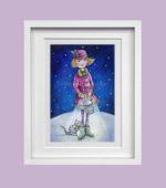 Girl with lantern - winter - framed