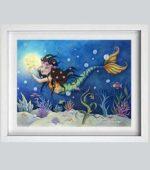Mermaid Girl - framed - new w-mk