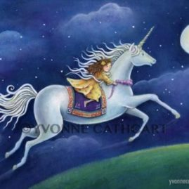 Girl Flying on Unicorn