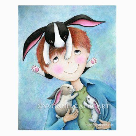 Boy with Bunnies