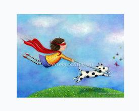 Girl Superhero and her Dog